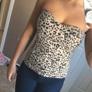 Tops - Leopard print strapless top